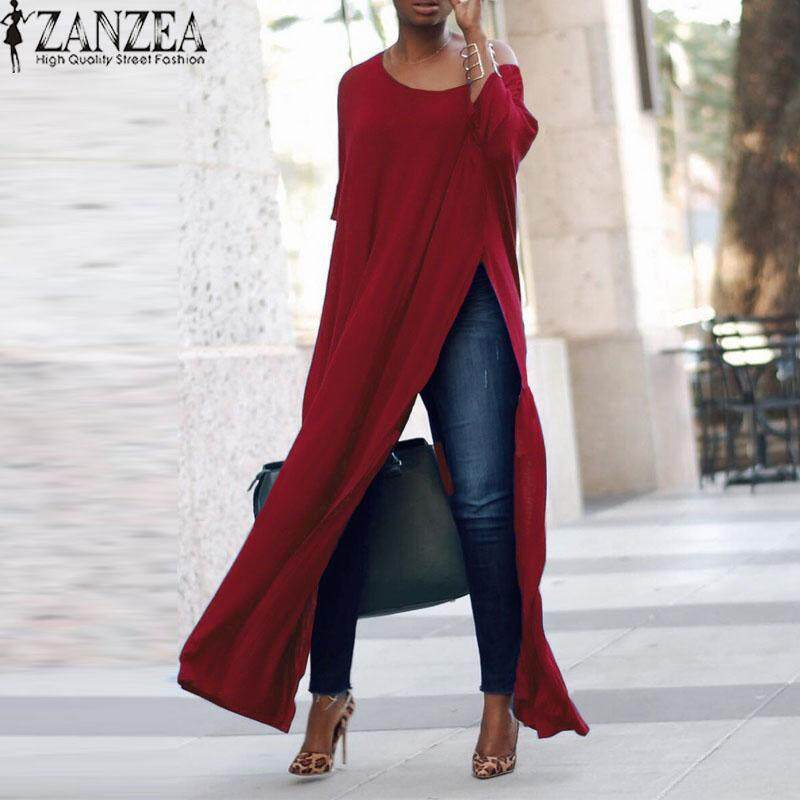 7c8ca4d56d6 ZANZEA Three Quarter Sleeve Oblique Collar Split High Pullover Shirt Top  Lady Autumn Solid Casual Party