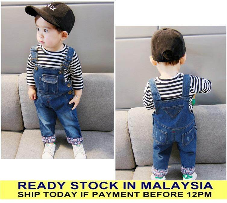 a103a2148ac8 READY STOCK Baby Boy Girl Overall Kids Denim Blue Plain Jeans Bib Children  Style
