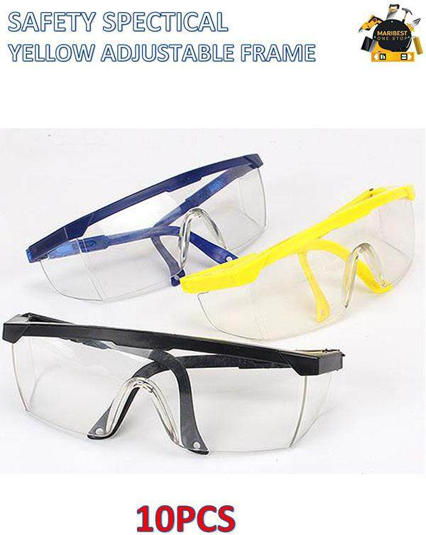 10PCS SAFETY SPECTICAL YELLOW FRAME CLEAR
