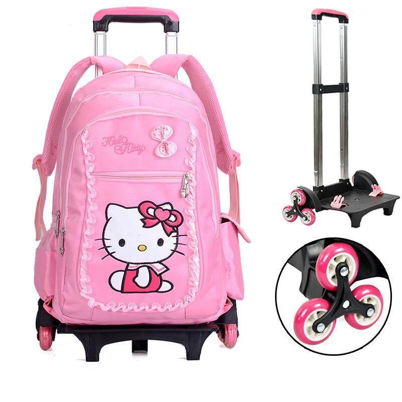 Cartoon Cat Primary School 6 Wheels Trolley School Bag Detachable Trolley  Back to School Cute Design 4696b1adbb