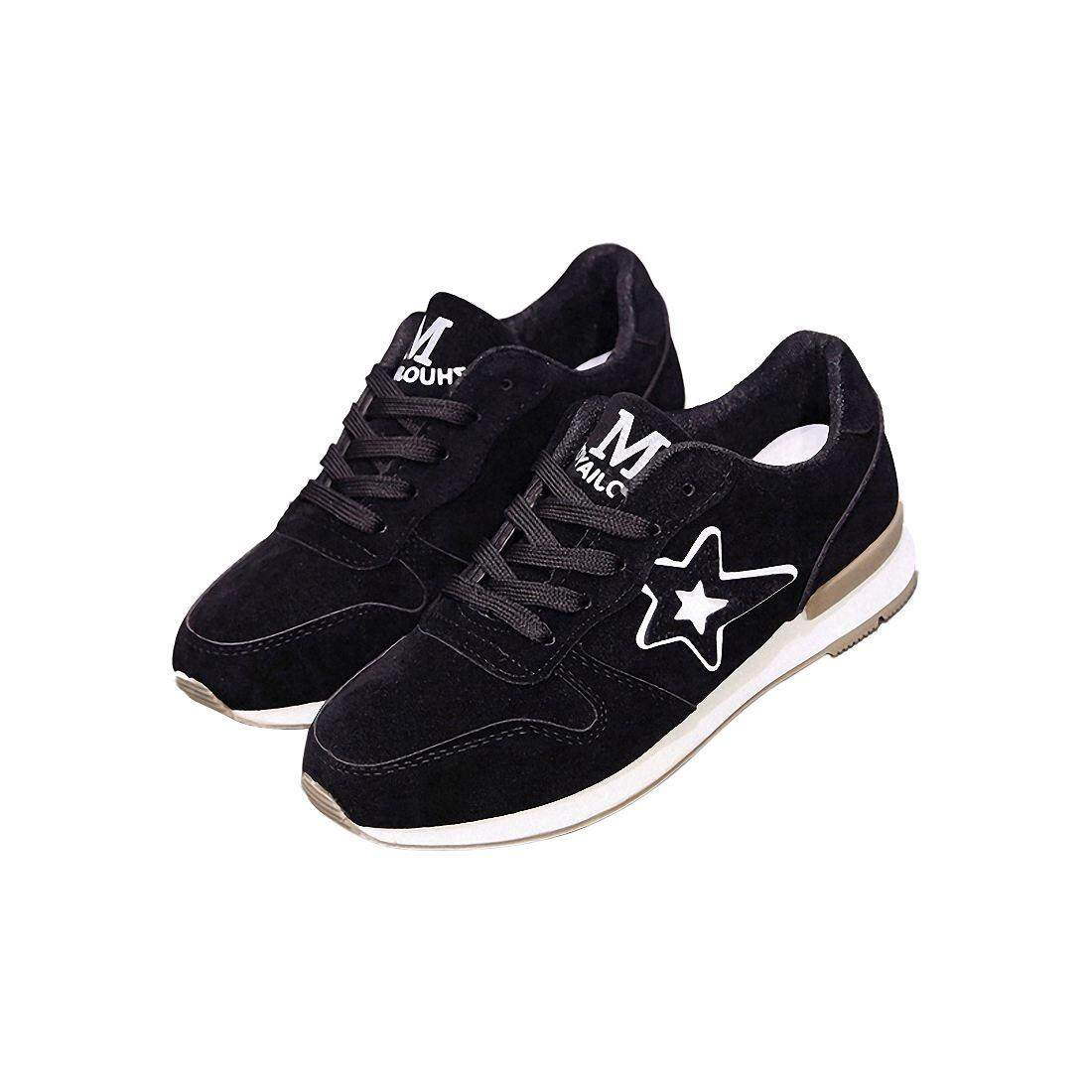 1 Pairs Of Black Sports Shoes Five-Pointed Star Student Skid Shoes Breathable Leisure Travel Shoes Hiking Shoes Us8.5 = Eu39 Feet 245mm By Fastour.