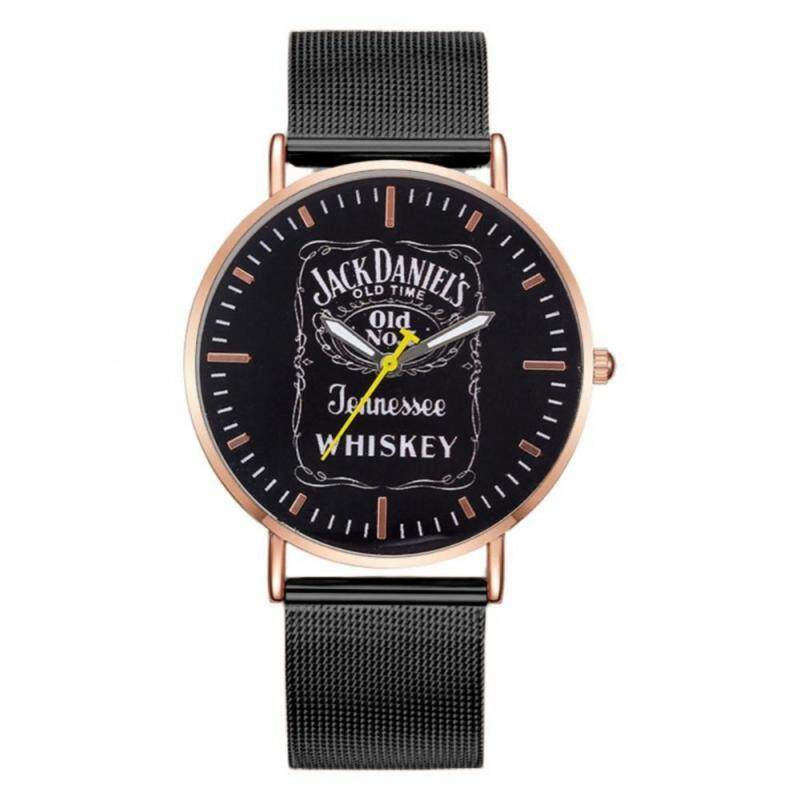 3 Colors 1pc Analog Round Quartz Watch Stainless Steel Strap English Letters Wristwatch Malaysia