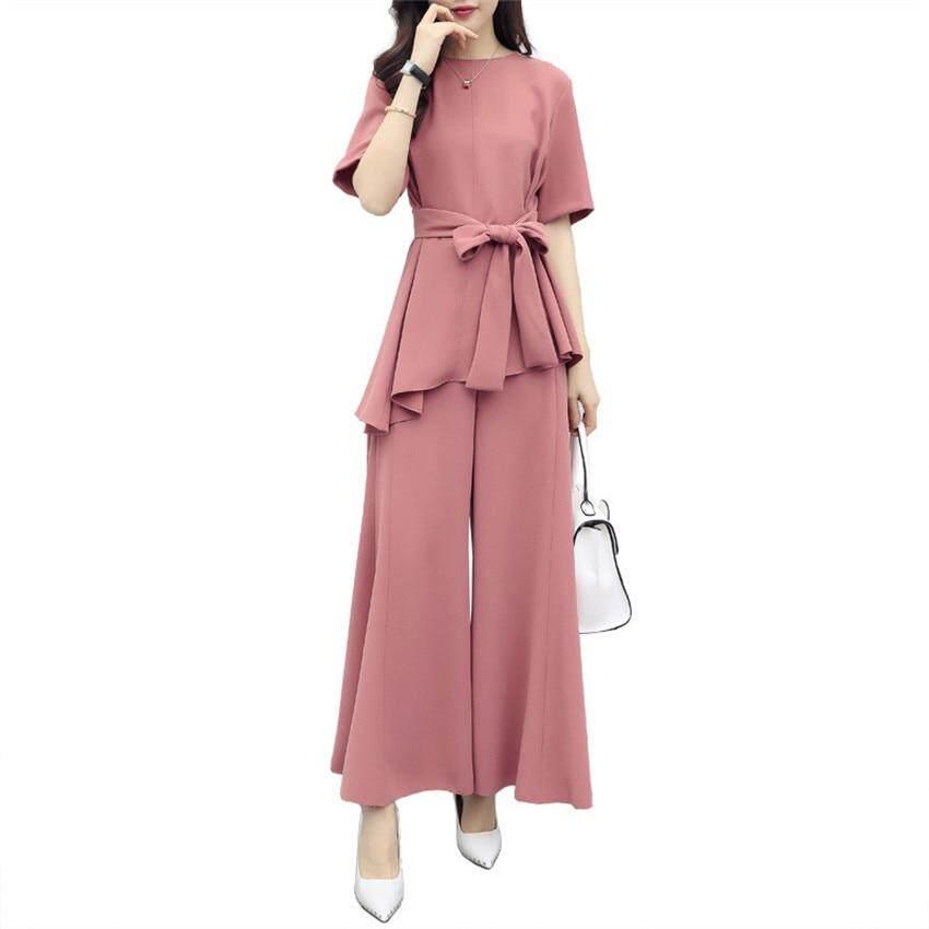 ce425cbe791b6 Pieces Set Women Summer Chiffon Pink Loose Tops and Wide Leg Pants Office  Lady Work Fashion