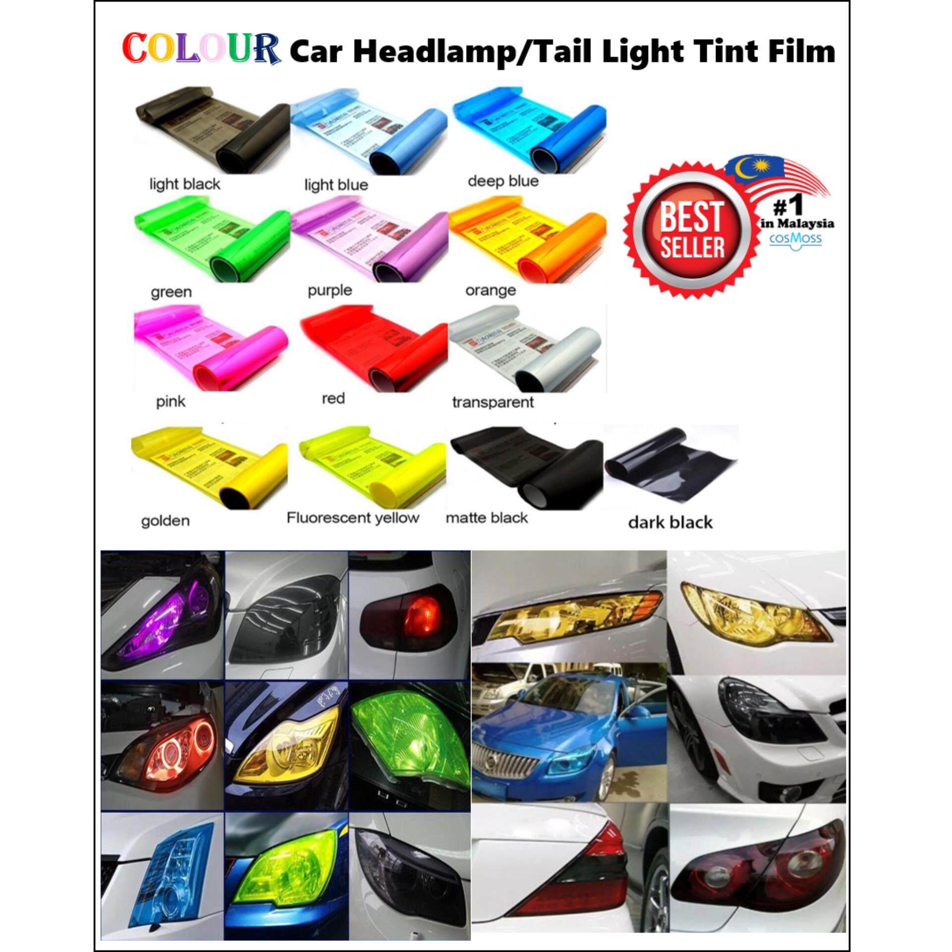 CAR HEADLAMP HEADLIGHT FOG LIGHT TAIL LIGHT STICKER SMOKE TINT FLIM 13 COLOUR -LIGHT BLACK 30cm x 100cm