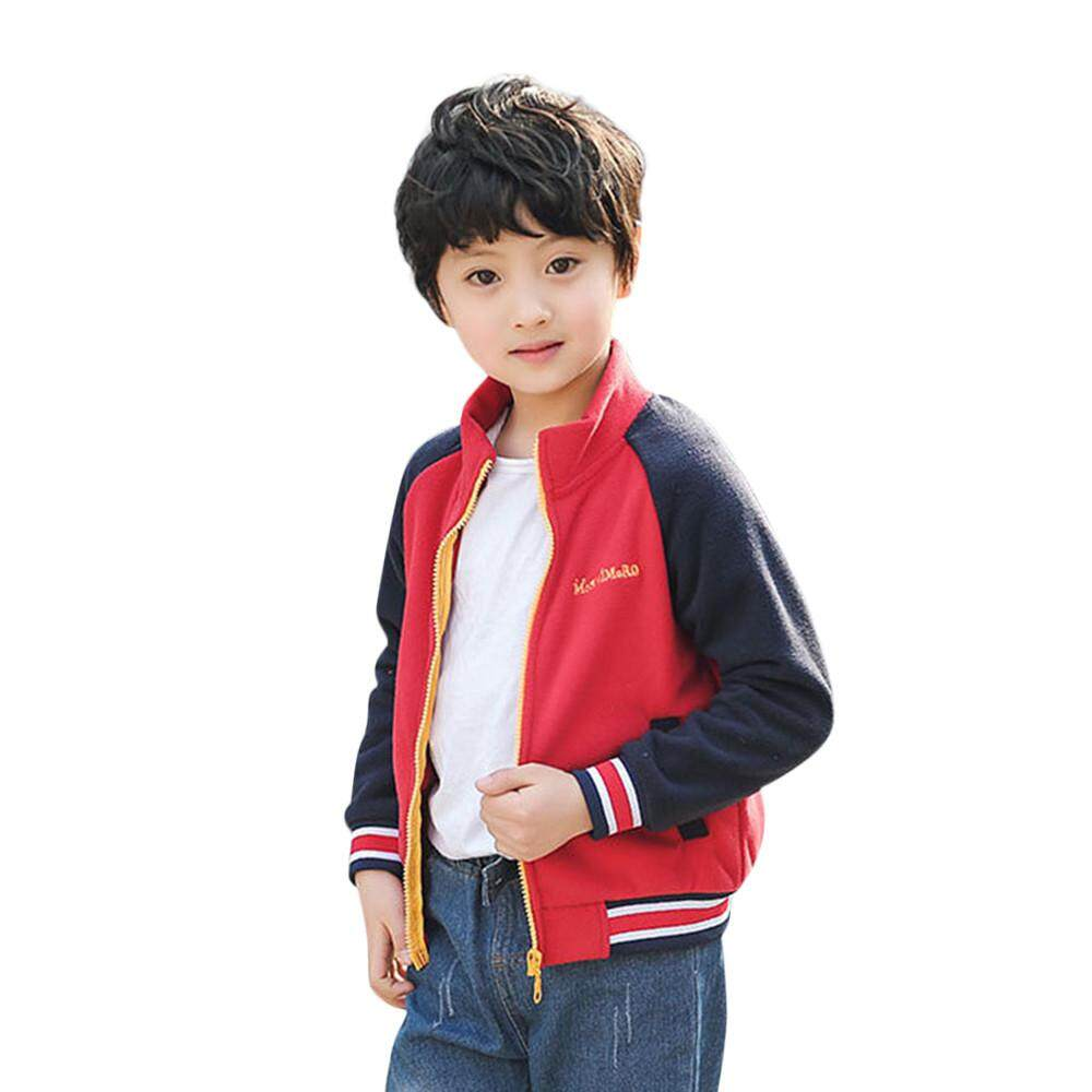 f27bd98b Dotsonshop Toddler Kids Baby Boys Fleece Splice Jackets Baseball Coat  Outwear Clothing