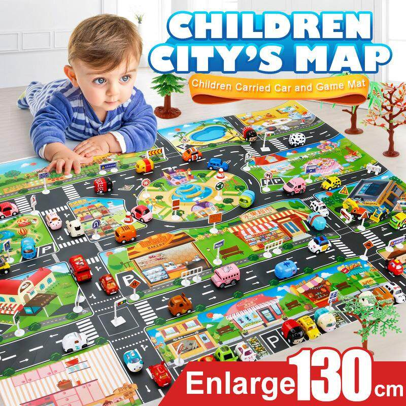 Kvvdi City Map 39Pcs (28Pc Road Sign+10Pc Car+1Pc Map) Car Toys Model Crawling Mat Game Pad for Children Interactive Play House Toys
