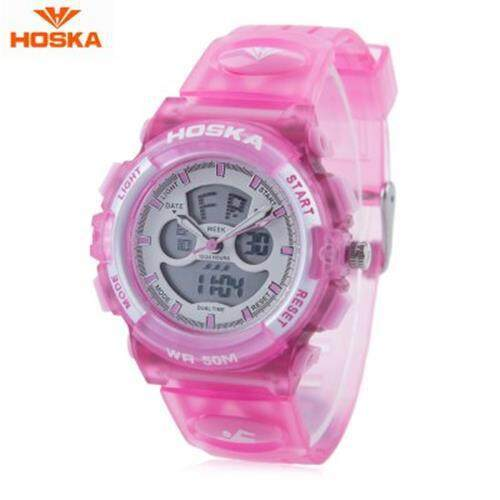 HOSKA HD005S DUAL MOVT CHILDREN SPORT QUARTZ WATCH WATER RESISTANCE CHRONOGRAPH DATE DISPLAY LED DIGITAL WRISTWATCH (PINK) Malaysia