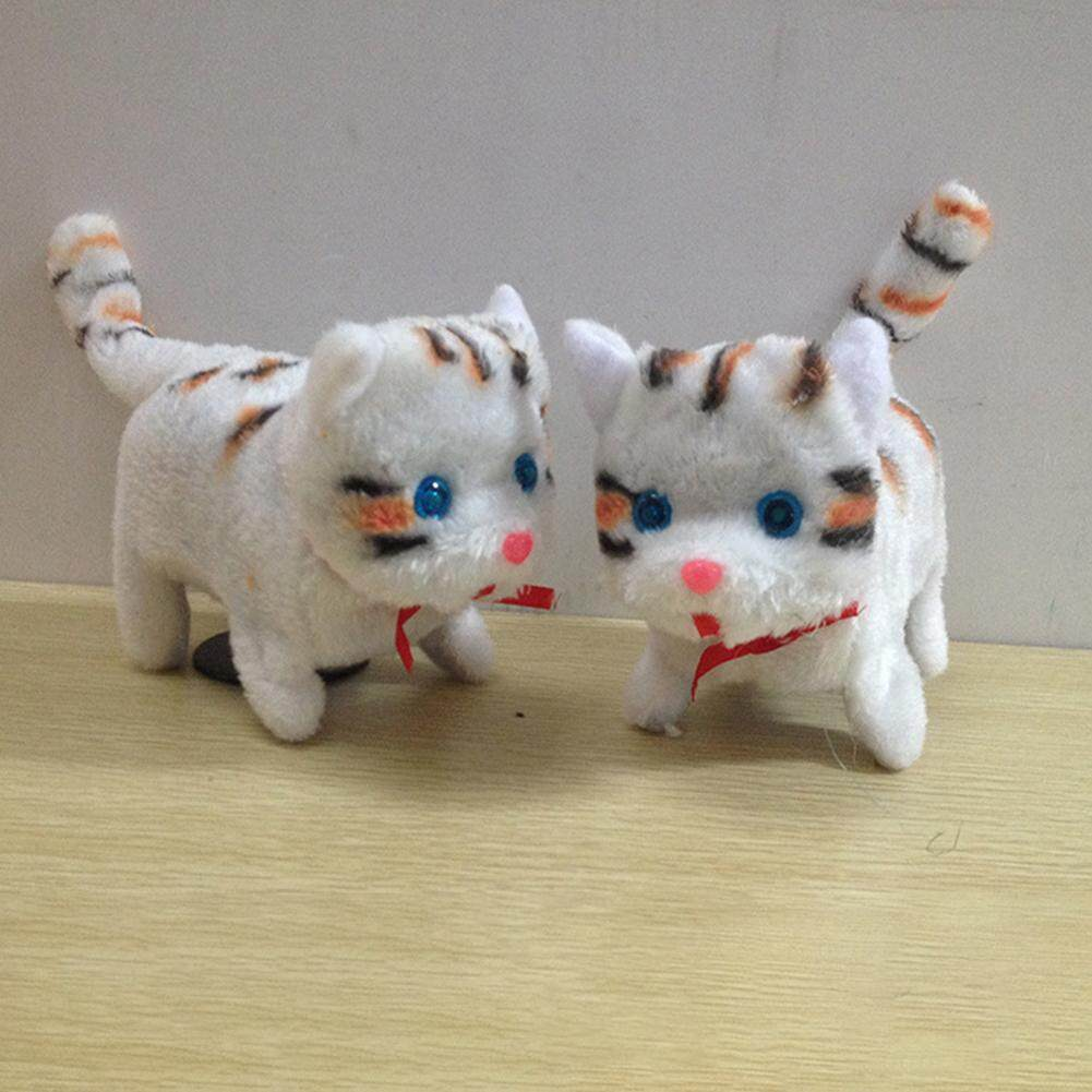 Cute Walking Cat Toy Funny Flash Eyes Electric Moving Cat Children Kids Toys Height:15cm By Weidu Fashion.