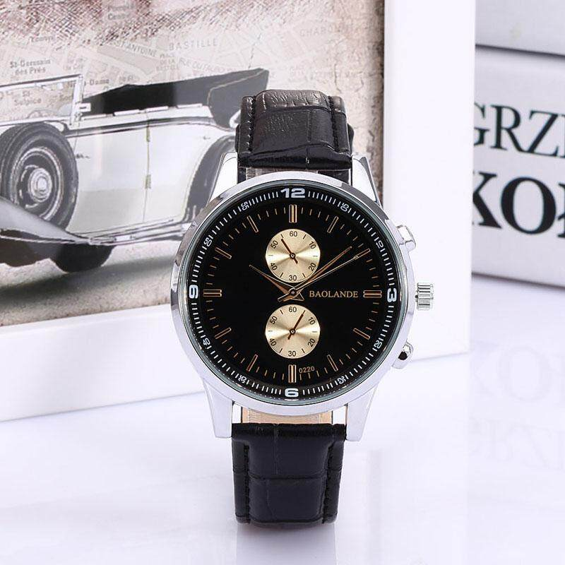 Man And Women Business Numerals Faux Leather Analog Quartz Watch BK radocie Malaysia