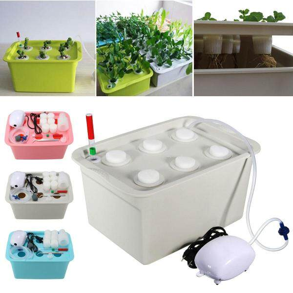 6 Plant Site Deep Water Culture Hydroponic System Bubble Tub Air Pump Grow Kit Grey - Grey