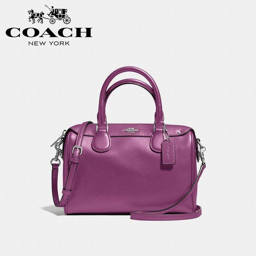Coach Mini Bennett Satchel In Crossgrain Leather (Purple)