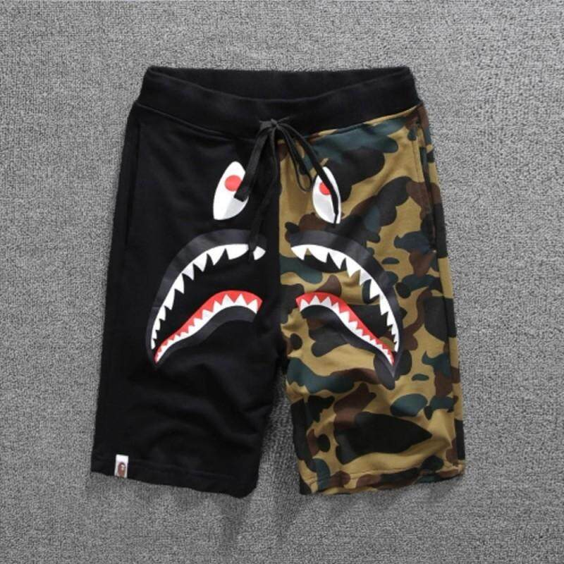 Japan Niche Brand Pure Cotton Camouflage Shark Jaw A Bathing Ape Casual Shorts Contract Color Pants Sweatpants By Lao Yang Store.