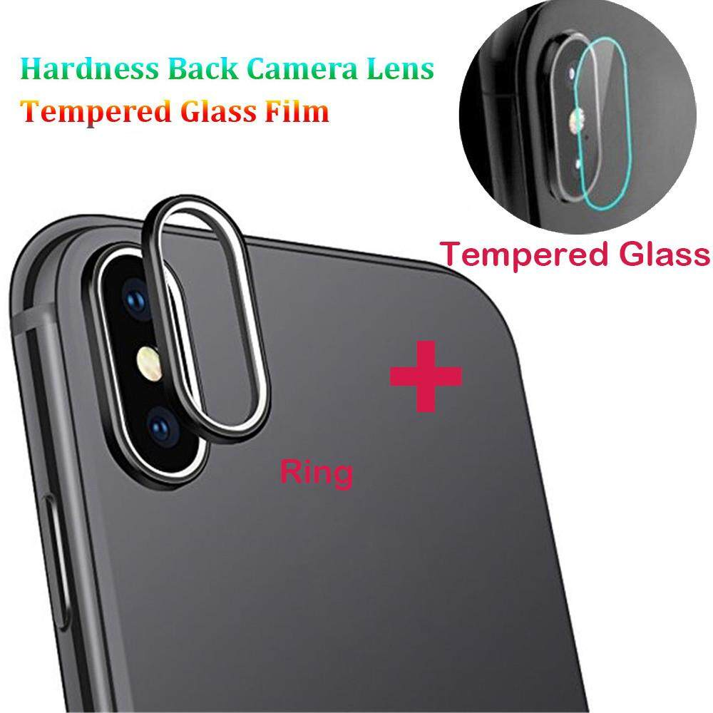 For iPhone XS Max 9H Back Camera Lens Ring +Tempered Glass Film Protector Cover