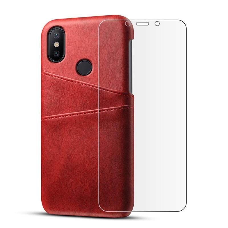 Moonmini Case for Xiaomi Mi 6X Mi A2 Back Case Calf Grain PU Leather TPU Phone