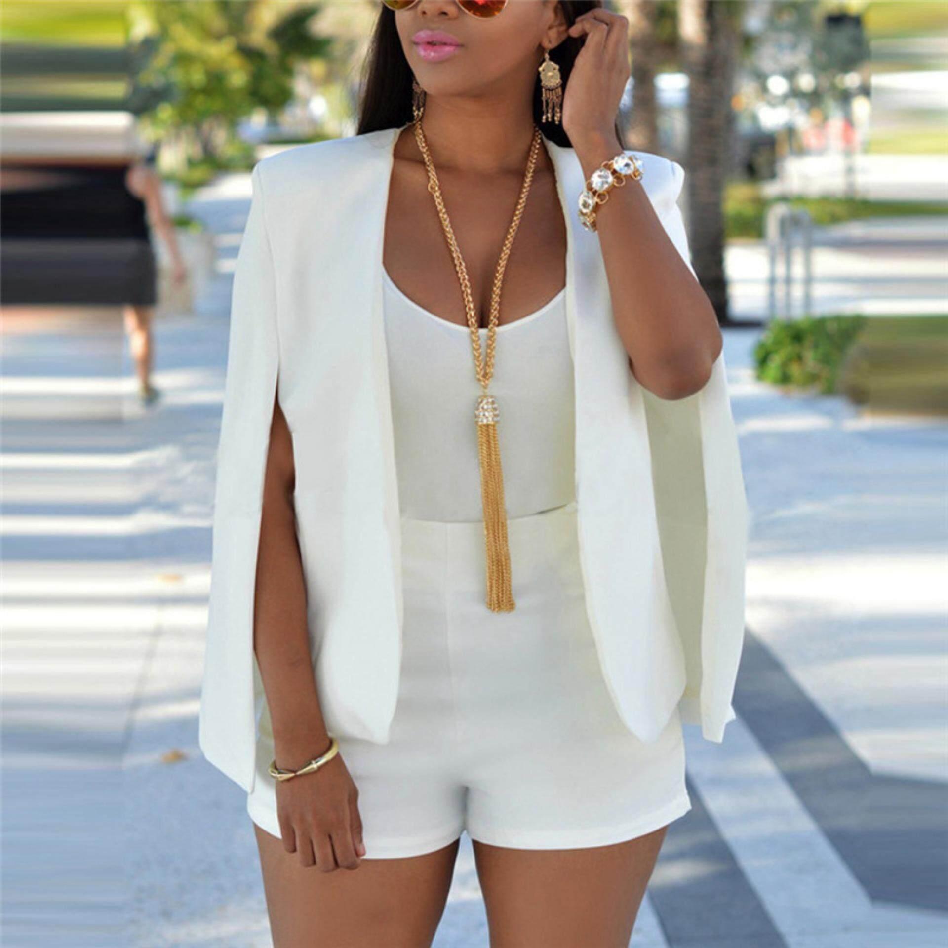 654f139dd6c Veli shy Female Slim Lapel Cape Casual Business Blazer Suit Jacket Coat  Outwear White Tag Size