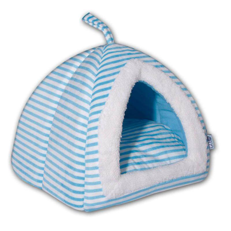 e73cb19f0bee Striped Dog Bed for Medium Large Dogs with Removable Mattress Warm Soft Pet  House Tent Washable