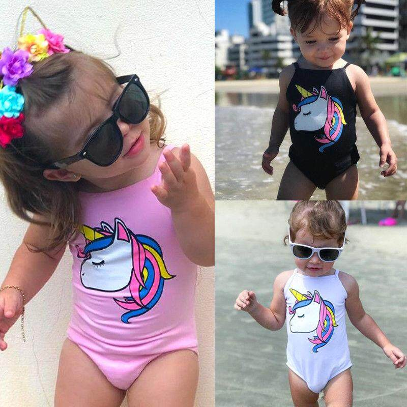a25e2d206 0-3T Kids Baby Girls Unicorn Swimwear One-piece Swimsuit Bathing Suit  Beachwear