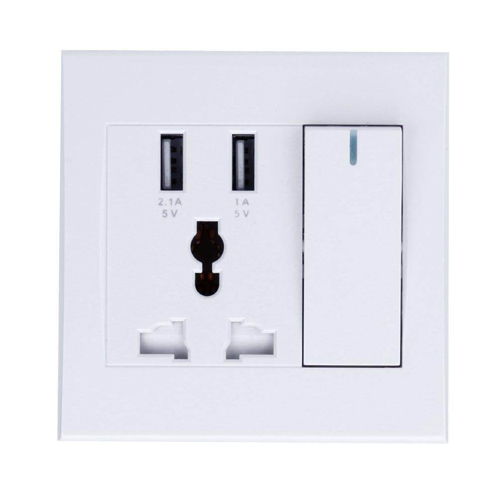 High Quality USB Wall Socket 86 Type Concealed Dual USB Home Wall Power Supply Socket with Switch