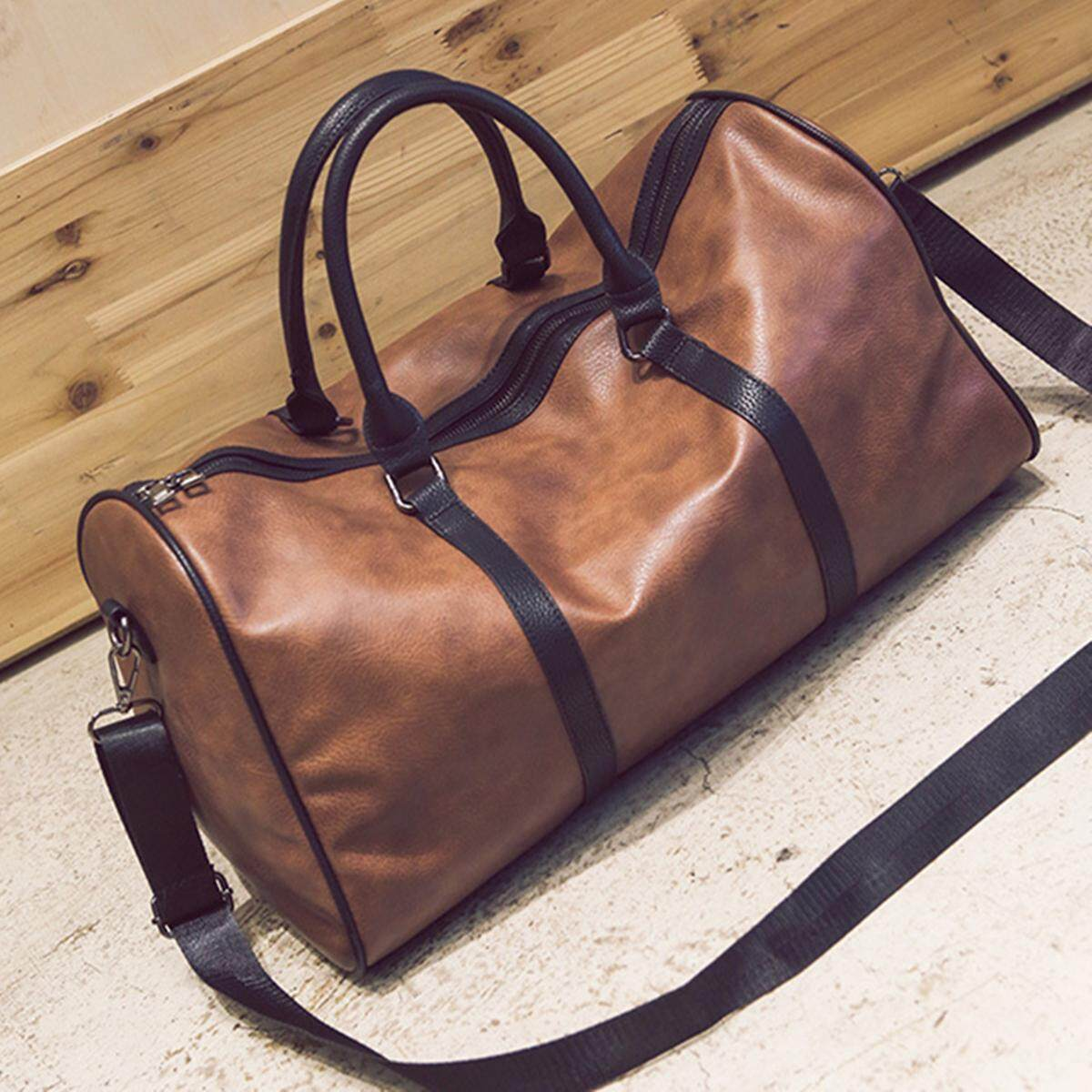a83ff179fe8 Women Men Leather Outdoor Large Gym Duffel Bag Travel Weekend Overnight  Luggage  brown