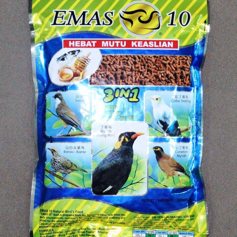 Emas 10 Natural Bird Feed Code 3004 500g By Irene Aquarium & Pet Saloon.