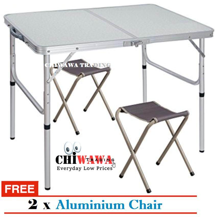 【free Gift: 2 X Chair】aluminium Foldable Picnic Table Easy To Carry Outdoor Camping Table With 2 Chair By Chiwawa Trading.
