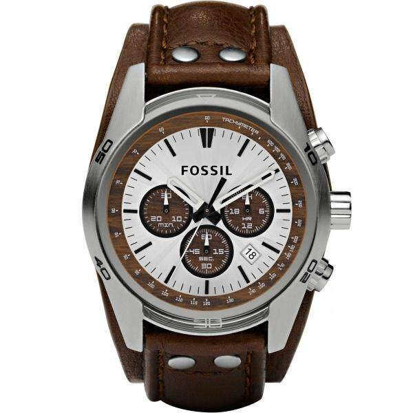 Fossil Mens Coachmen Chronograph Cuff Leather Watch CH2565 Malaysia