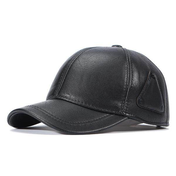 5675654180e Men PU Leather Baseball Caps Casual Adjustable Warm With Ear Flaps Baseball  Hats