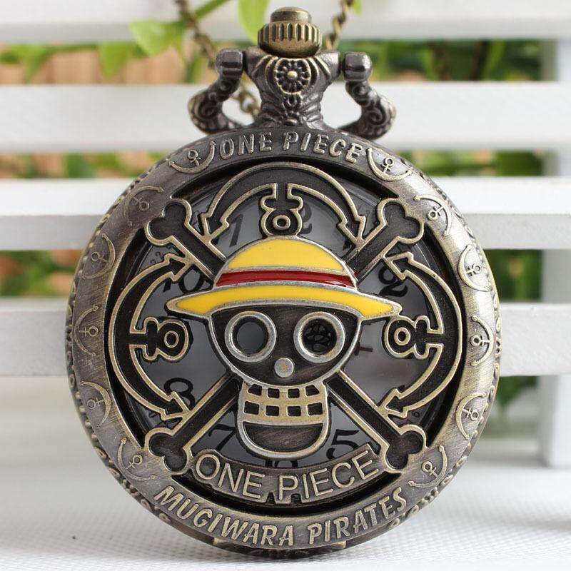 Large Quartz Cartoon One Piece Skull Vintage Pocket Watch Green Ancient Bronze Pocket Watch Malaysia
