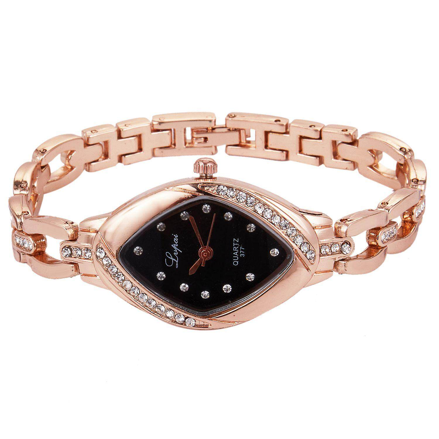 Lvpai Dropshipping Luxury Ladies Bangle Watches for Women Rhombus Cheap Gold Rhinestone Watch Dress Quartz Wrist Clock Watches, P128 rose gold black Malaysia