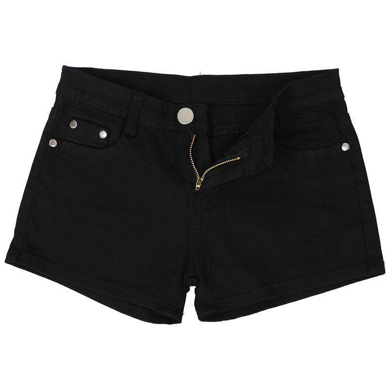 Summer Denim Shorts Slim Fit Candy Color Short Pants Short Jeans Women Shorts Denim Black M=27 By Fastour.