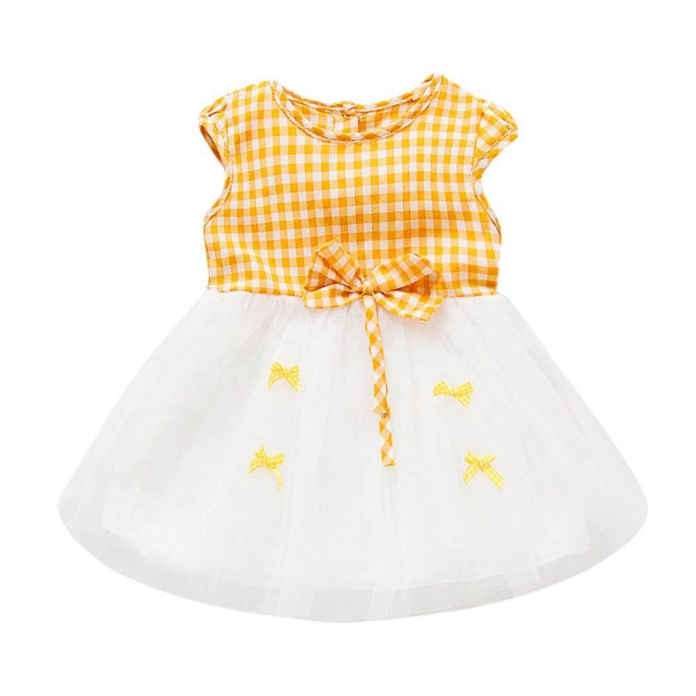 Newborn Toddler Baby Girls Plaid Bowknot Net Yarn Casual dress Clothes By Cutebabyroom.