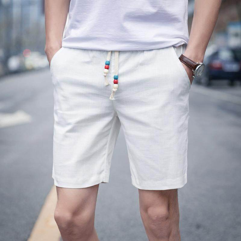 c96e188a620b  Weonder Men Pants  Men Summer Linen Cotton Solid Beach Casual Elastic  Waist Classic Fit