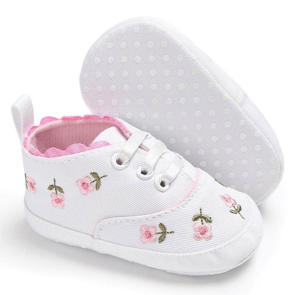 fed70e28332a RADOCIE Newborn Infant Baby Girls Floral Crib Shoes Soft Sole Anti-slip  Sneakers Canvas