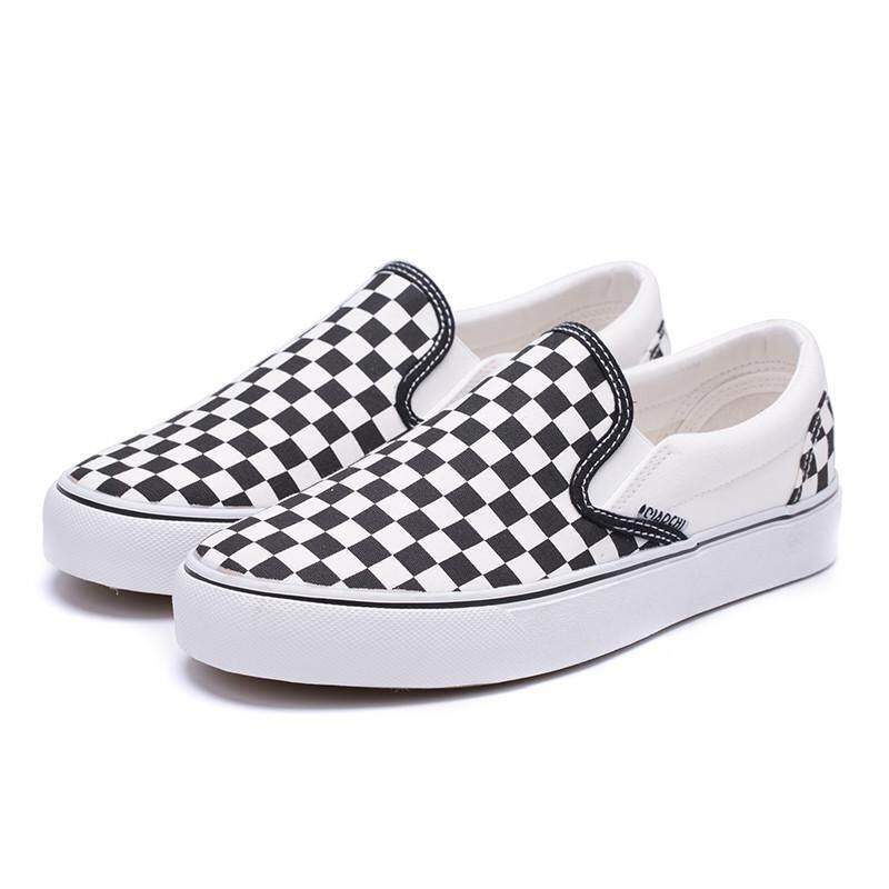 4a2301aace Black And White Plaid Ladies Canvas Shoes Couple Student Casual Shoes