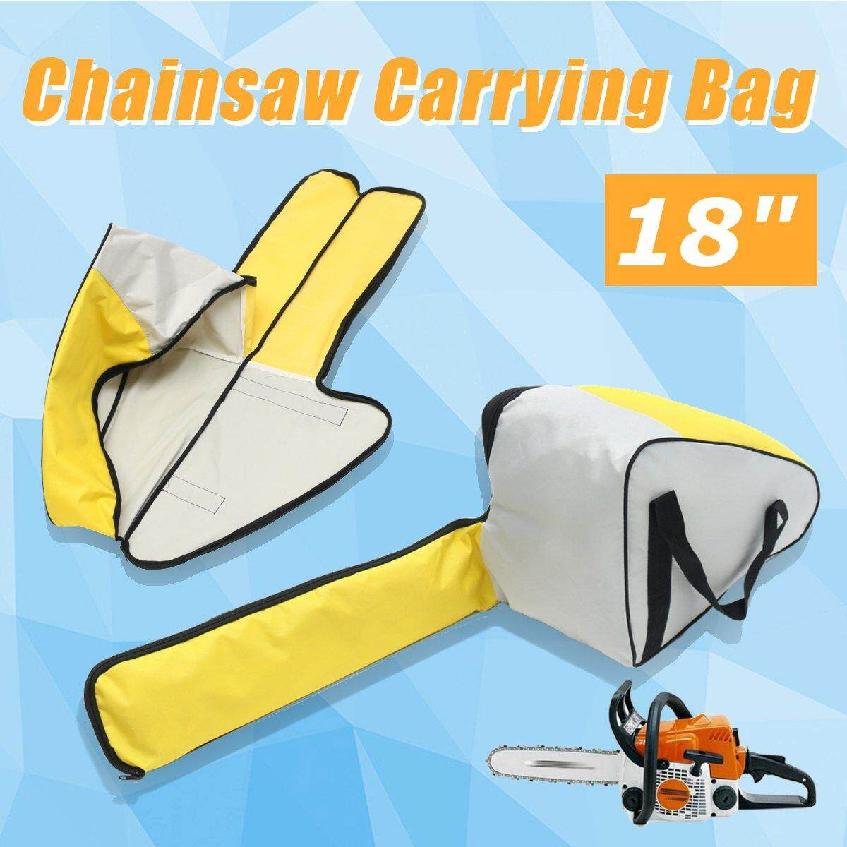 18 Deluxe Chainsaw Chain Saw Carry Bag Case Protective Holdall Box Yellow Grey