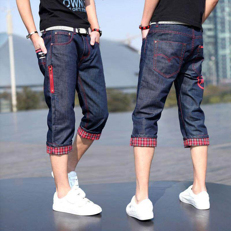 98922cd6876 Summer Elasticity Capri Jeans Men Korean Style Slim Fit Skinny Pants  Fashion Men s Middle Pants Thin