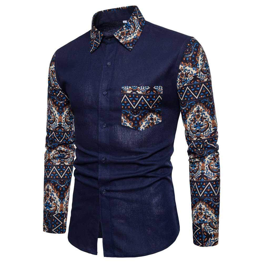 39c0a5e7d871 nagostore Mens Casual Long Sleeve Shirt Business Slim Fit Shirt Print  Blouse Top