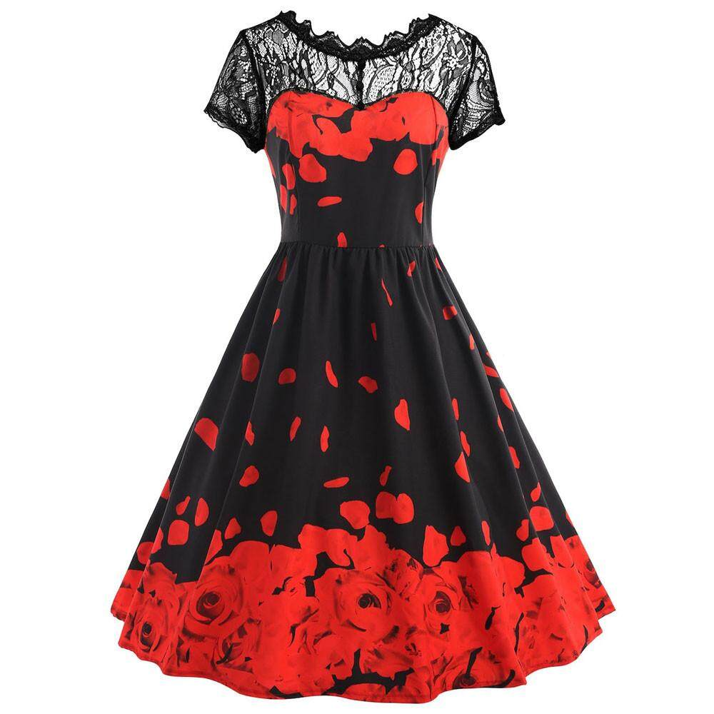 19e503f2f0f Lawsonshop Womens Flowers Printing Lace Short Sleeve Party Dress Vintage  Lace Dress