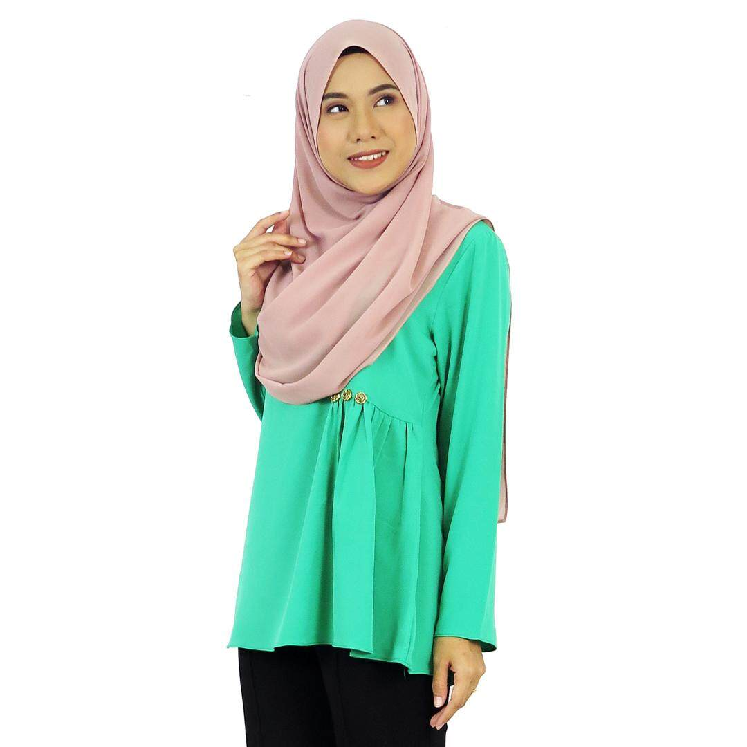 Aqeela Muslimah Wear Gathers Top with Embellished-Green qb065a 625aa0840f