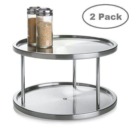 Lovotex 2 Tier 2 Pk Lazy Susan - Stainless Steel 360 Degree Turntable – Rotating 2 Level Tabletop Stand For Your Dining Table, Kitchen Counters And Cabinets – Turning Table Spice Rack Organizer Tray - 2 Pack By Cross Border.
