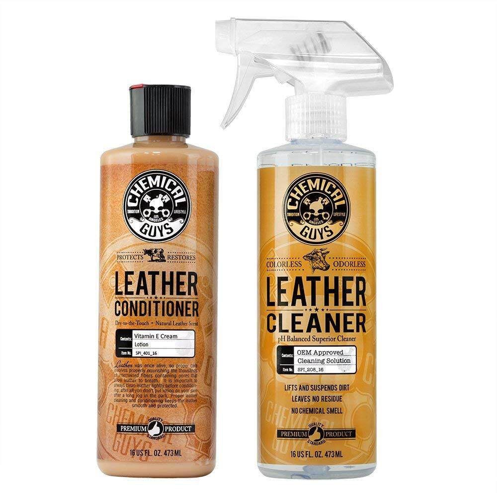 Chemical Guys Leather Cleaner And Conditioner Complete Leather Care Kit (16 Oz) (2 Items) By The Wise.