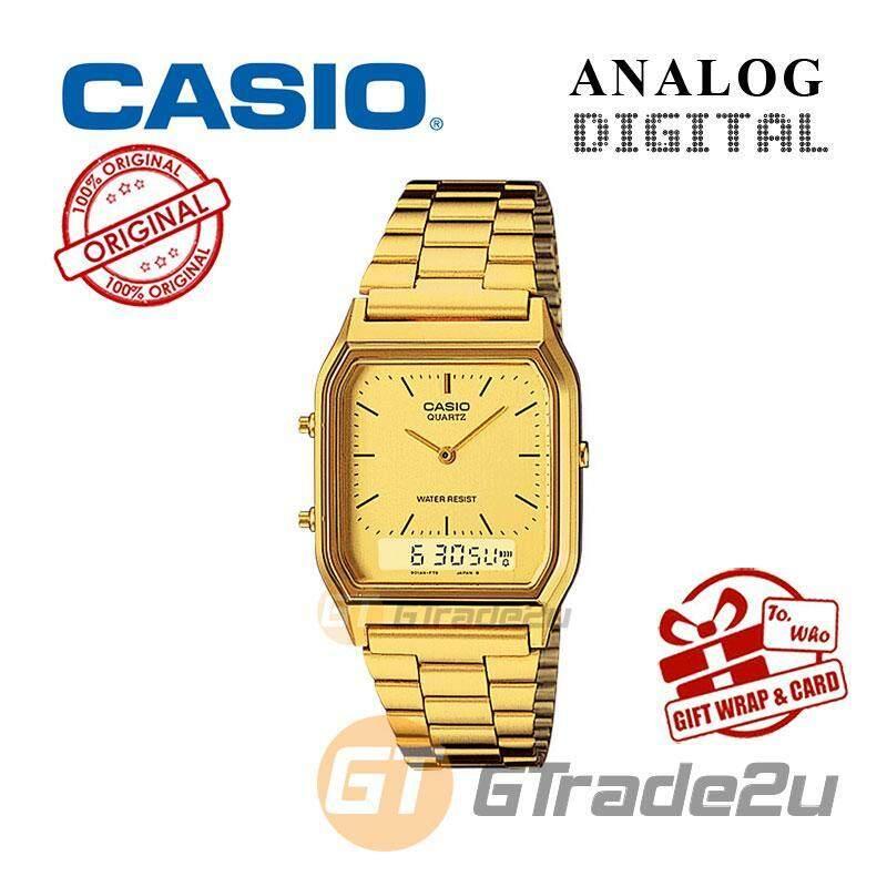 CASIO ANALOG DIGITAL Watch AQ-230GA-9D  Square Gold Design Dual Time Malaysia