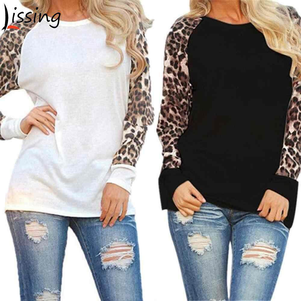 9f7564d62be LISSNG 1PC Cotton New Fashion Long Sleeves Cotton spliced Chiffon T-Shirts  Plus Size Womens Long Sleeve Leopard T Shirts Ladies Loose Casual Tops ...