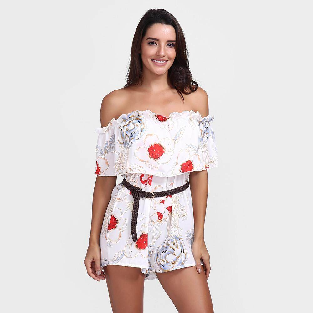2dc999a53bf Aiipstore Women Summer Sexy Print Tops Belted Off-Shoulder Jumpsuit