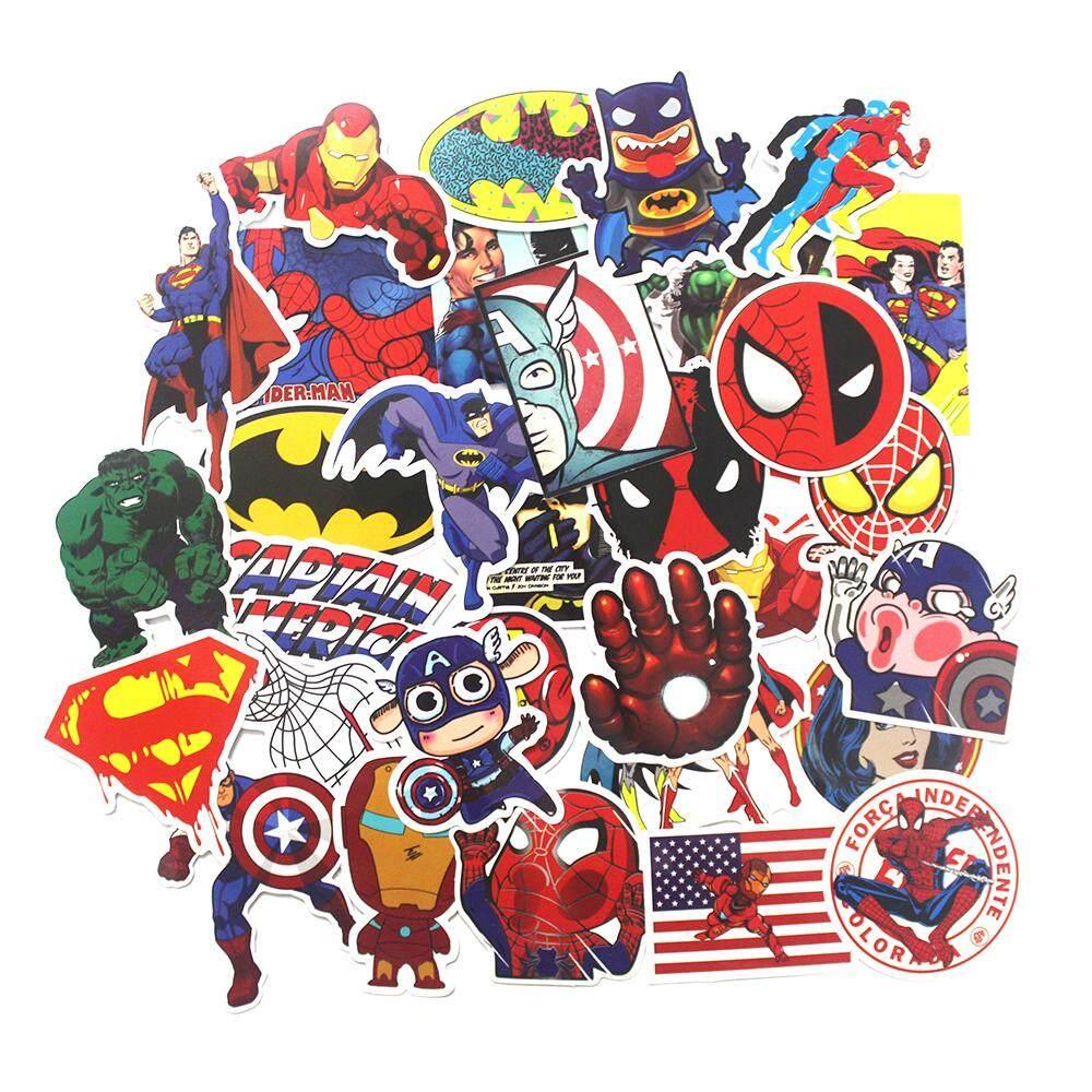 50 pcs stickers for super hero cartoon stickers for laptop decal fridge skateboard batman superman hulk