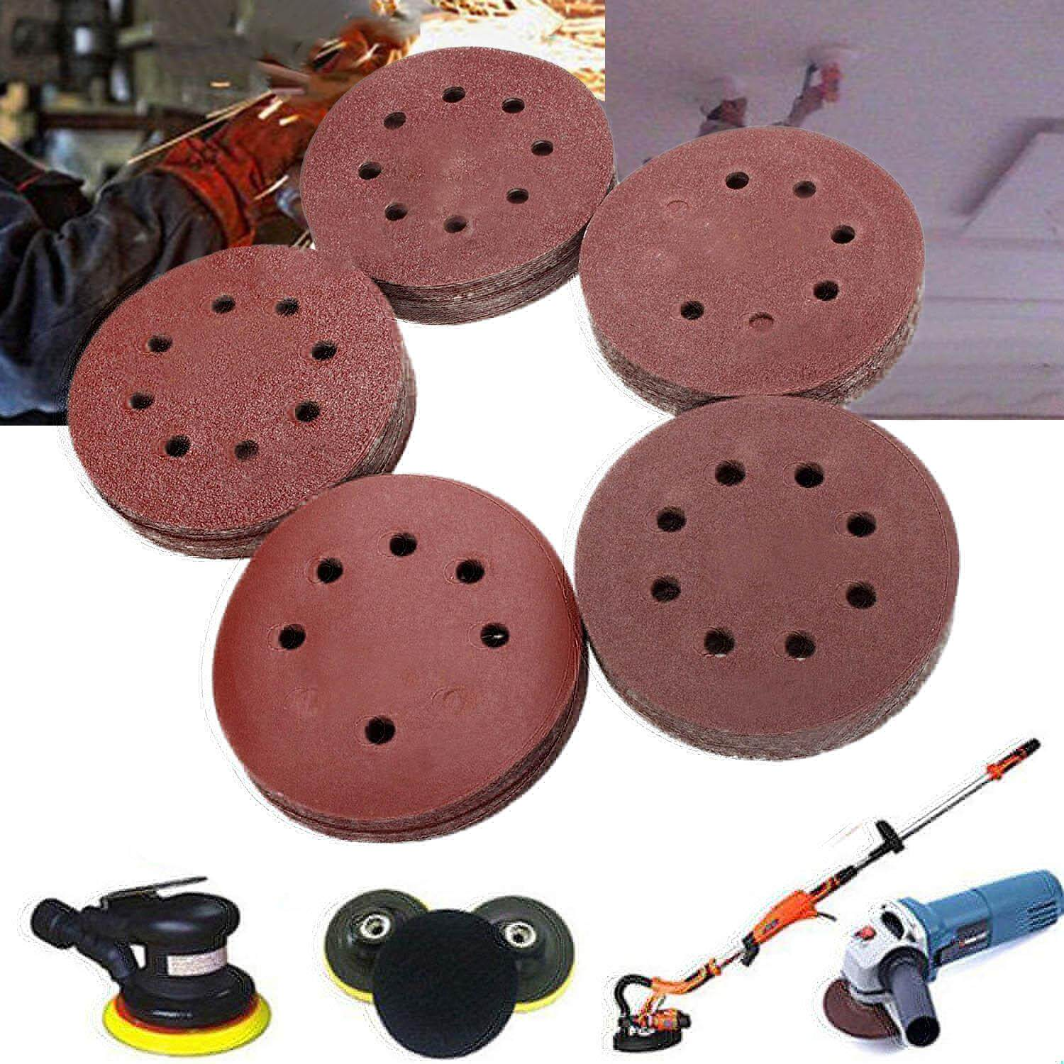 100 PCS Sanding Discs Pads Paper 60 80 100 120 240 Grits 8-Holes 125mm For Pneumatic Electric Manual Grinding Machines