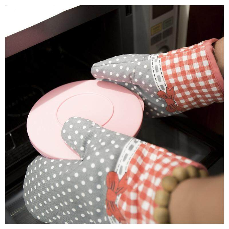 Bowknot Oven Gloves Non-Slip Kitchen Oven Mitts Heat Resistant Cooking Gloves for Cooking, Baking, Barbecue Potholder, Gray + red, 1 Pair