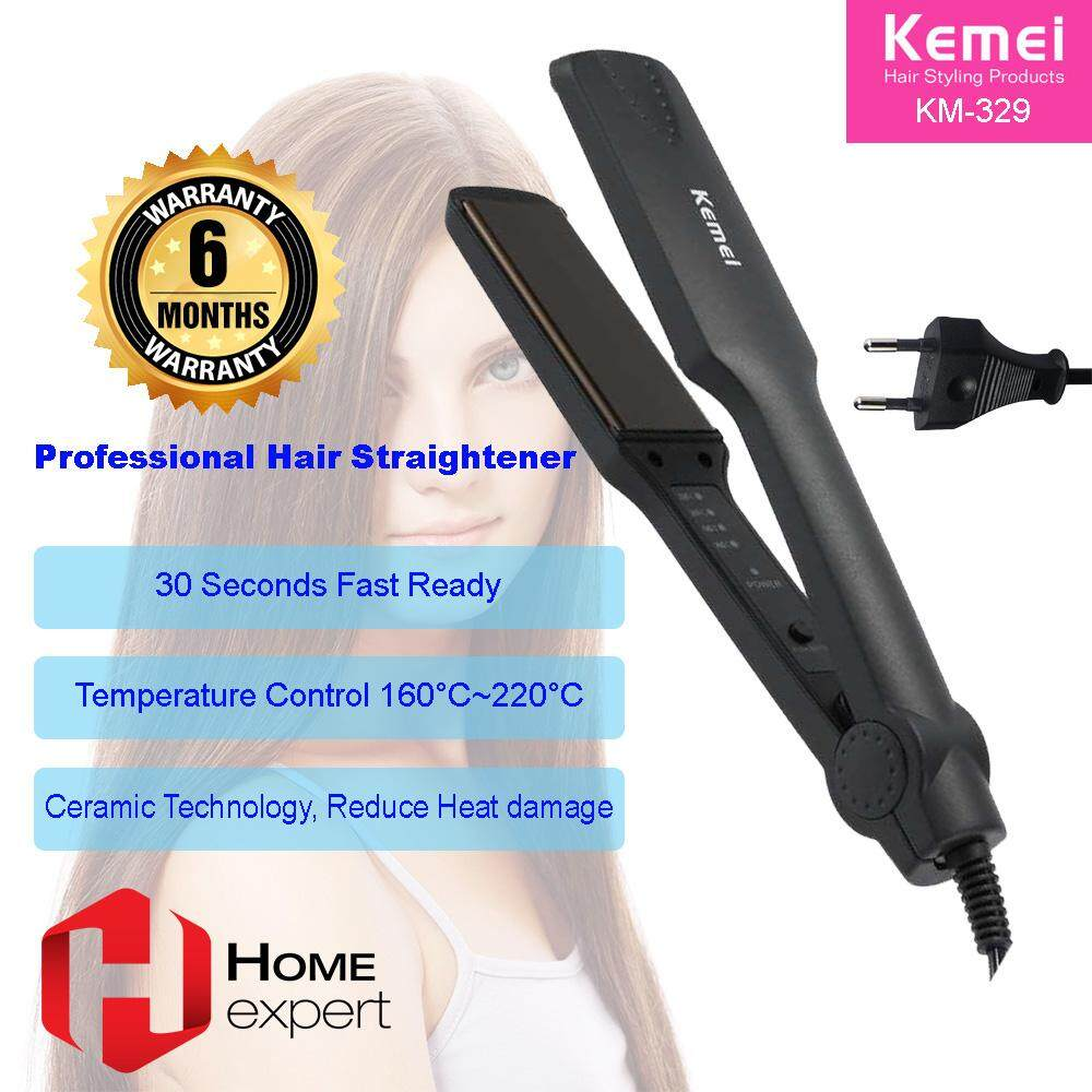 Kemei Msia Set Professional Ceramic Hair Straightener Hair Styling 35W - Adjustable Temperature Styling Tools KM