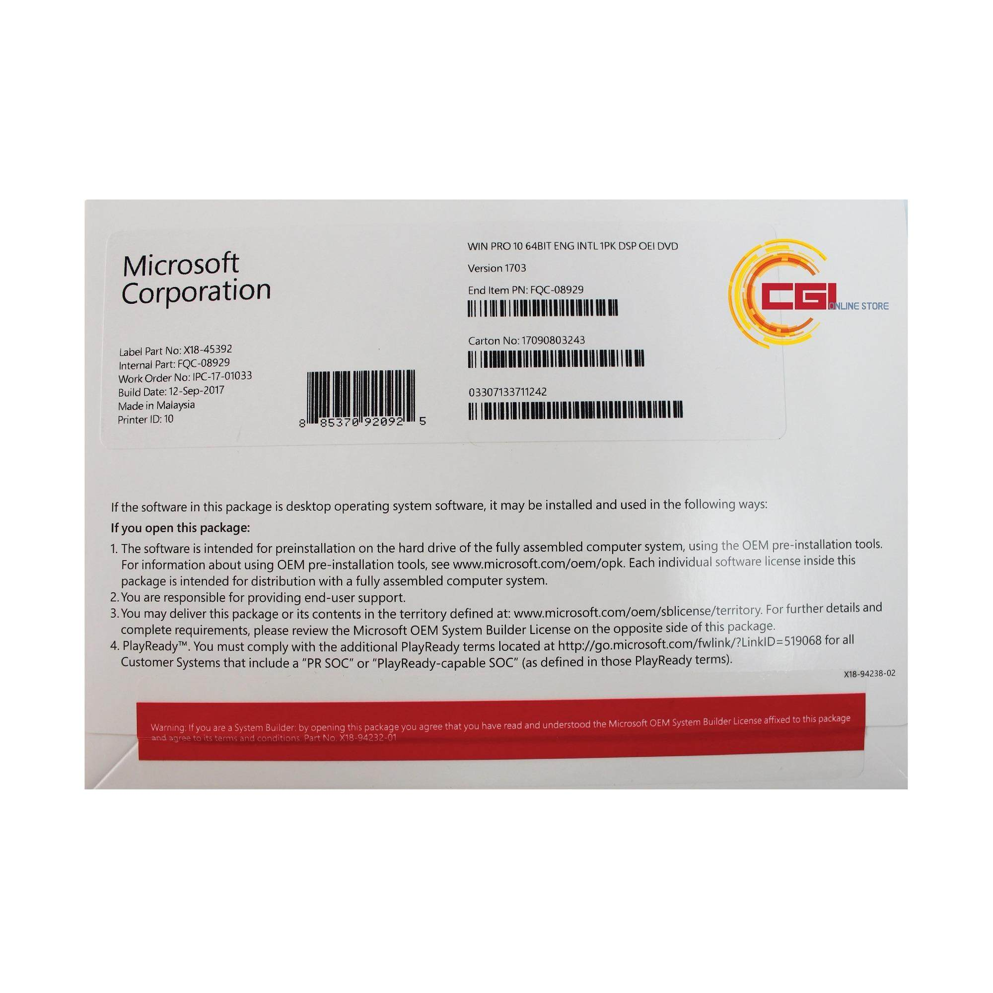 Microsoft Windows 10 Professional English 64-bit - OEM Pack (FQC-08929)