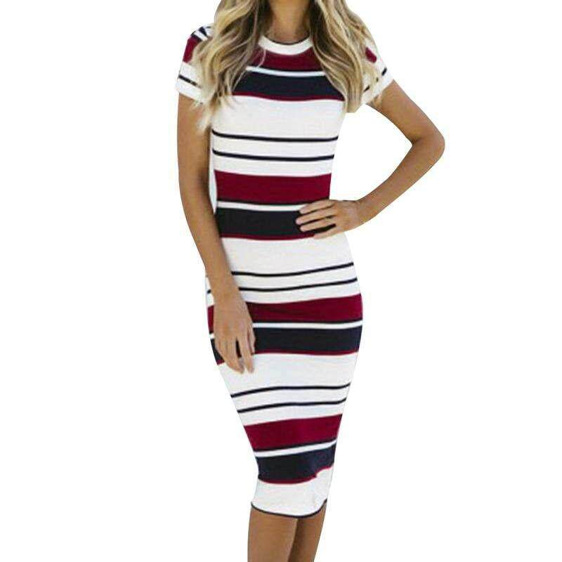 a3651ae593 BZY Summer Sexy Striped Pencil Dress Round Neck Short Sleeve Package Hip  Dress